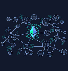 Ethereum network blockchain conceptual vector