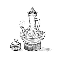 Ethiopian vintage coffeepot with a hot drink and vector