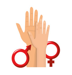 Female and male icons with hands design vector