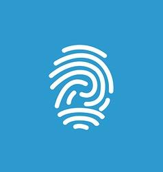 fingerprint icon white on the blue background vector image