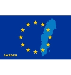 Flag of European Union with Sweden on background vector