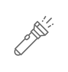 Flashlight camp lamp line icon vector