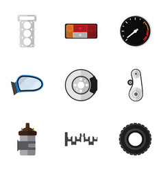 Flat icon parts set of metal headlight wheel and vector