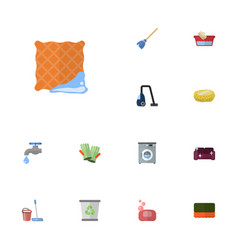 flat icons faucet wisp washcloth and other vector image