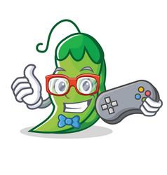 Gamer peas mascot cartoon style vector