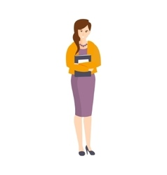 Girl In Purple Dress And Orange Cardigan Holding vector