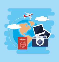 Global map with passport and camera with photos vector
