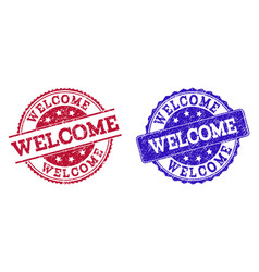 grunge scratched welcome seal stamps vector image