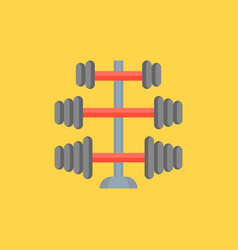 Gym equipment barbell stand in various weight icon vector