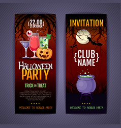 halloween disco cocktail party poster vector image