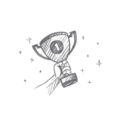 Hand drawn trophy for the first place in palm vector image
