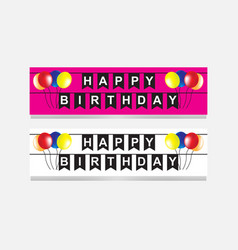 Happy birthday party flags banner with balloon vector