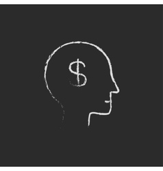 Head with dollar symbol icon drawn in chalk vector image