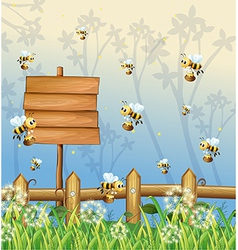 Honeybees Signboard vector image