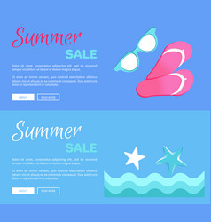 Hot summer poster with flip-flops glasses ans sea vector