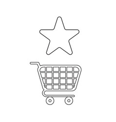 icon concept star symbol with shopping cart vector image