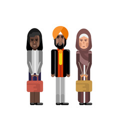 Indian businessman in turban with women vector