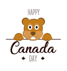 Isolated beaver canada day vector