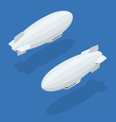 isometric dirigible in flight icons collection vector image