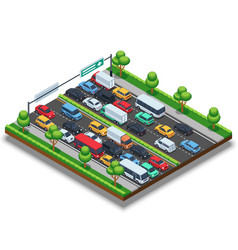 Isometric highway with traffic jam 3d vector