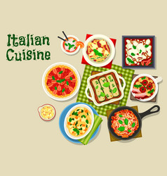 italian cuisine icon with pasta and lasagna vector image