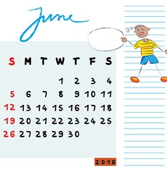 june 2014 kids vector image