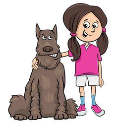 Kid girl with dog cartoon vector