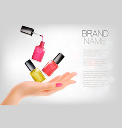 Manicured hands and several nail laquer bottles vector
