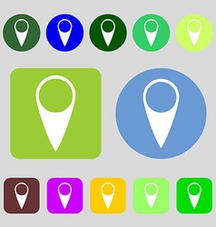 Map pointer icon GPS location symbol 12 colored vector image