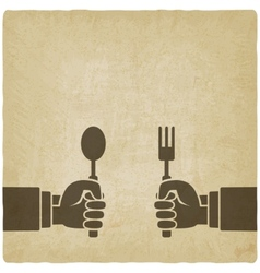 Menu old background Hands with fork and spoon vector image