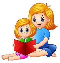 mother and daughter reading book together on a whi vector image