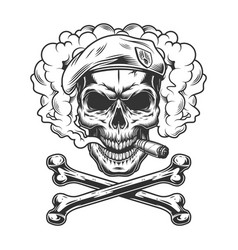 Navy seal skull wearing beret and smoking cigar vector
