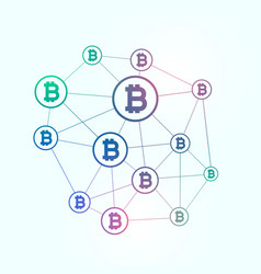 network of blockchain bitcoins background vector image