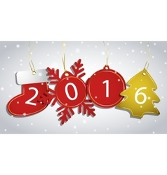 New Year tags on a snowy background vector image