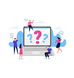 Online question answers search question sign on vector