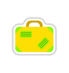 paper sticker on white background suitcase vector image