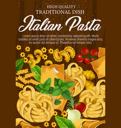 Pasta from italy with seasonings and herbs poster vector