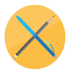 Pen and pencil cross icon flat vector image