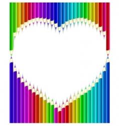 Pencils heart shape vector