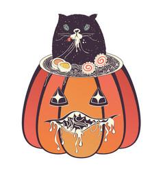 Ramen and cat in the pumpkin vector