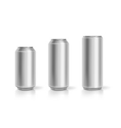 realistic aluminum cans soda drink containers set vector image