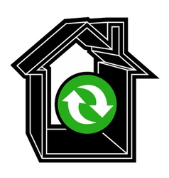 Recycle house symbol vector