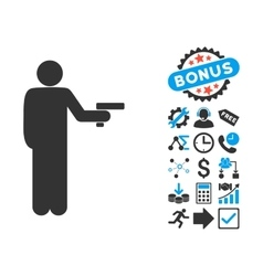 Robber With Gun Flat Icon with Bonus vector