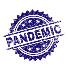 Scratched textured pandemic stamp seal vector
