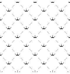 Seamless black pattern with king crowns on vector image