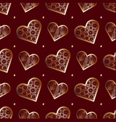 seamless pattern abstract lace hearts valentines vector image