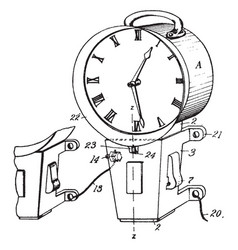 Secondary electric clock vintage vector
