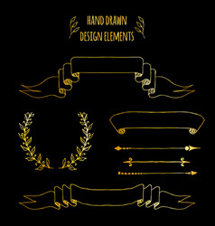 set gold handdrawn vintage elements ribbons vector image