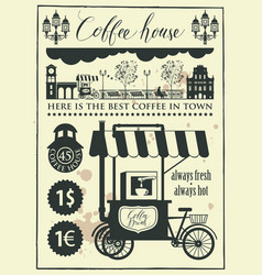 Set of design elements with a mobile coffee shop vector