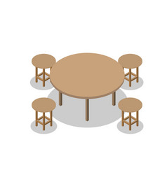 Set of dining or cafe wooden furniture four vector
